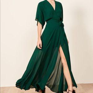Reformation | Green Maxi Wrap Winslow Dress